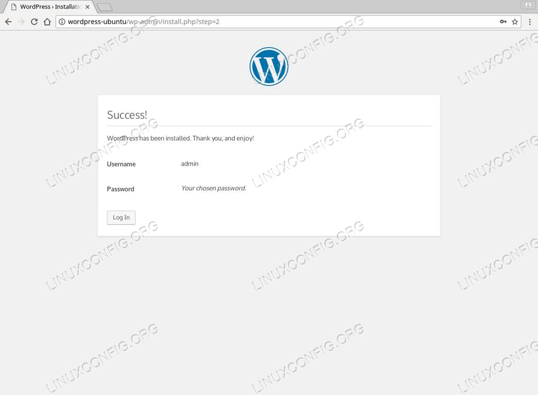 WordPress Ubuntu 18.04 - Install Success