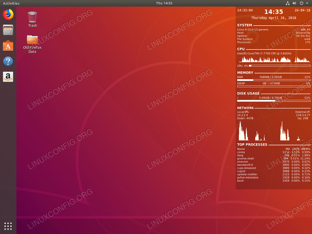 System Monitoring with Conky on Ubuntu 18.04 Linux