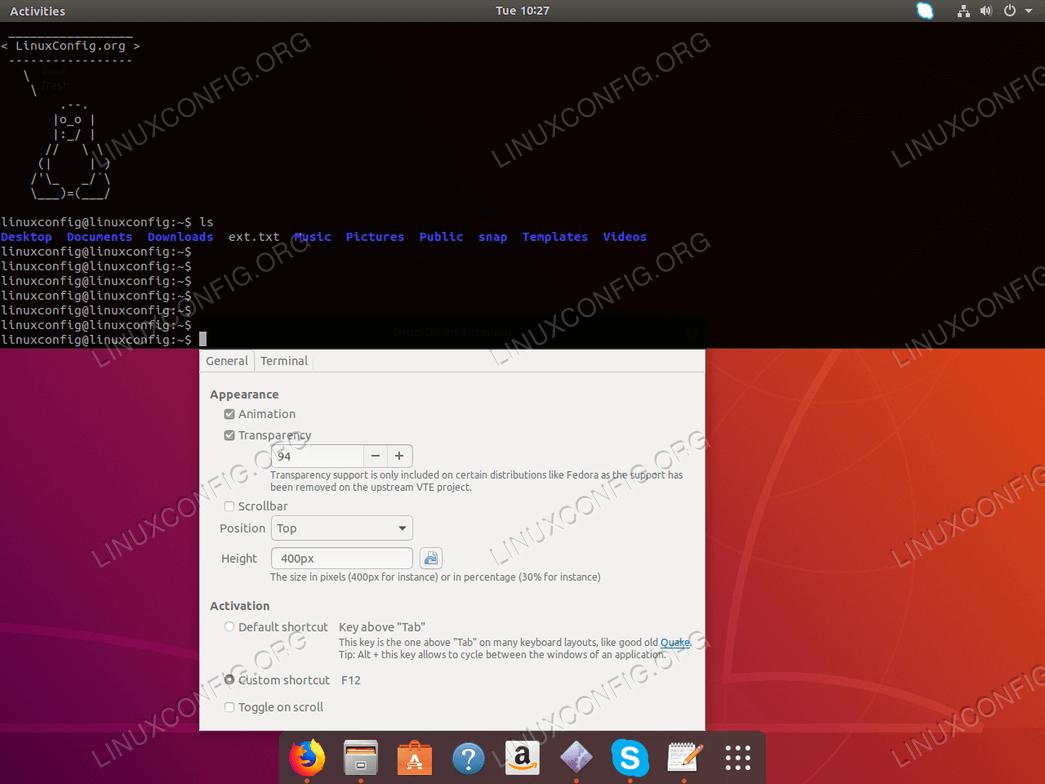 Drop Down Terminal for Ubuntu 18.04