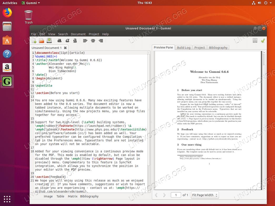 Gummi LaTeX editor on Ubuntu 18.04
