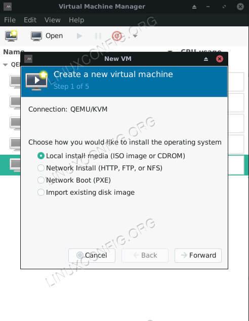 Virt-Manager Select Install Type Ubuntu 18.04