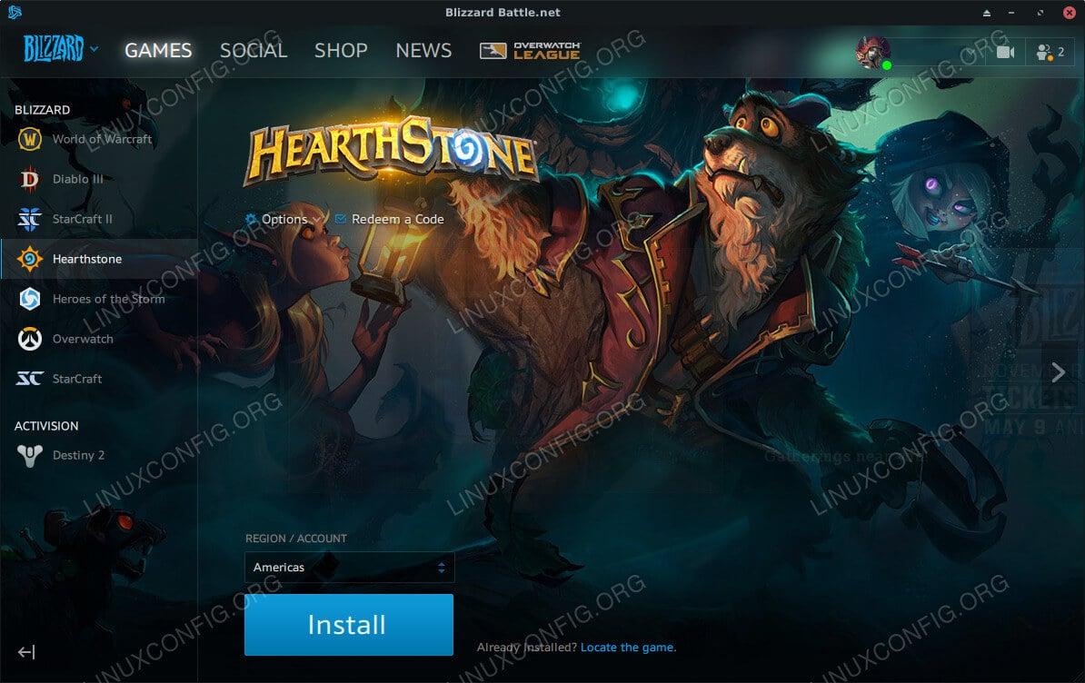Lutris Hearthstone Battle.net