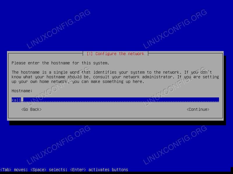 Kali Linux Install Set Hostname