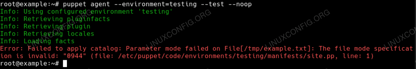 Image showing a Puppet sync error message