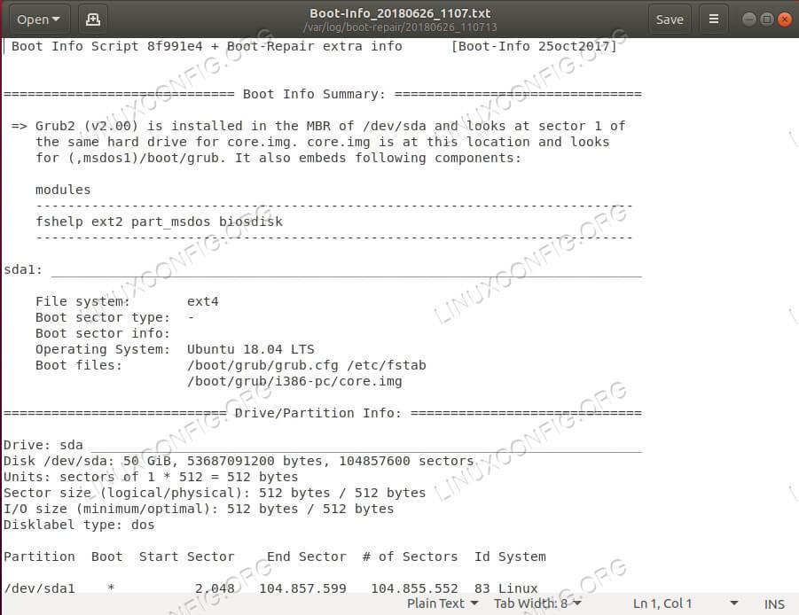 Ubuntu Boot-Repair Report