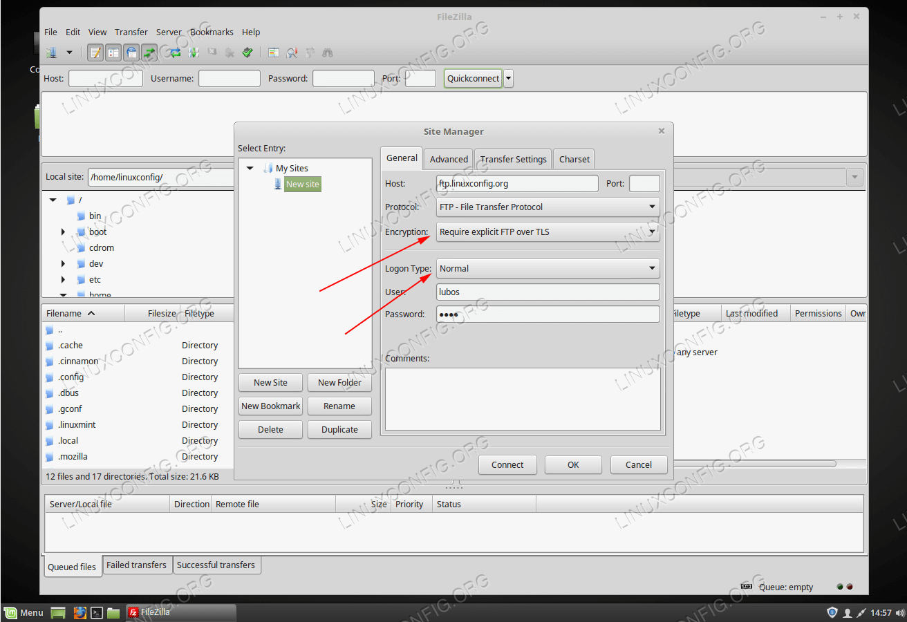 Create a new FTP connection. To test TLS make sure you select correct encryption and Logon type.