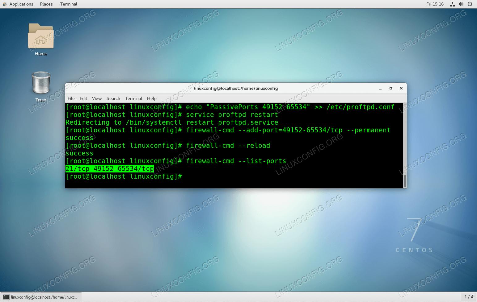Configure ProFTPD server to receive passive FTP connections.