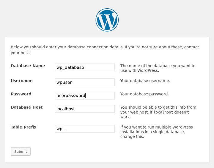 WordPress Database Setup on Debian Stretch