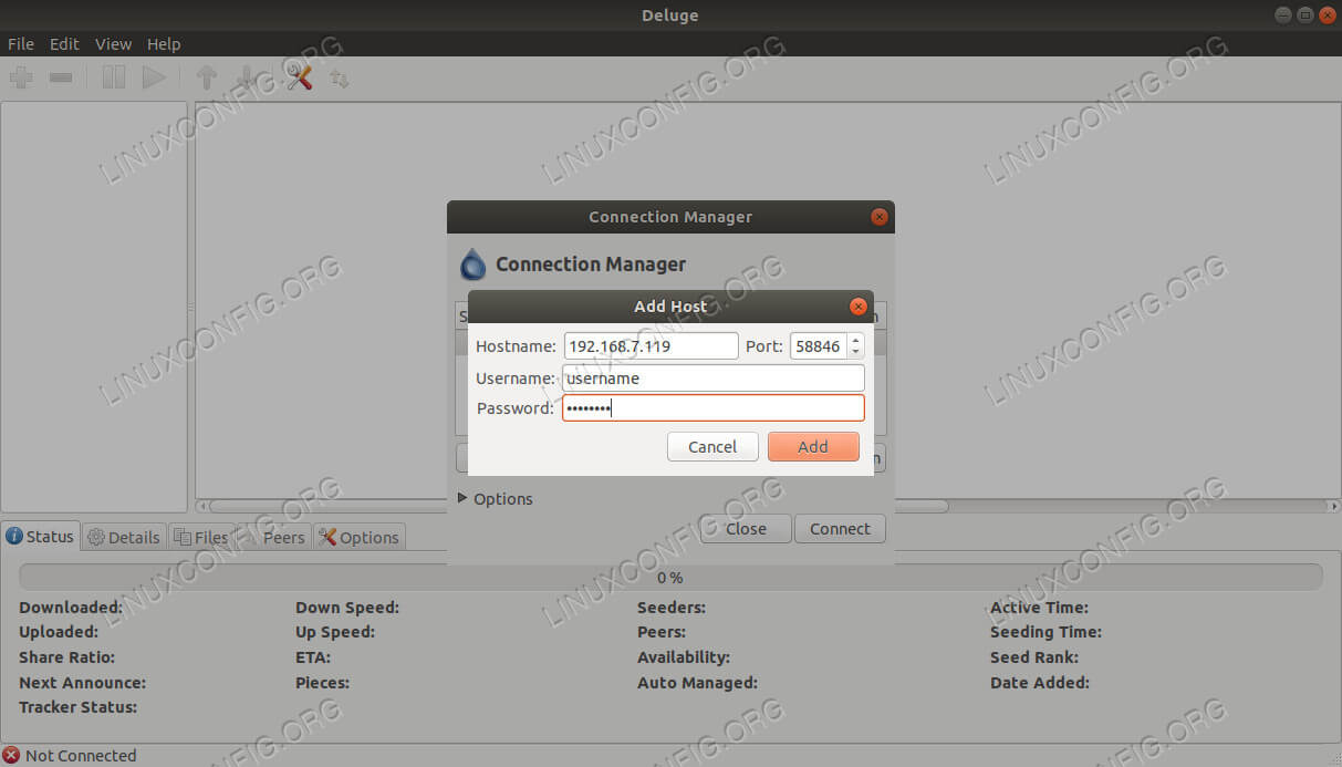 Deluge Disable Add Connection