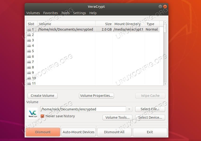 VeraCrypt mounted drive