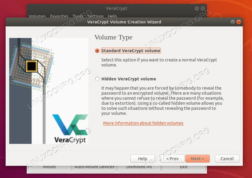 VeraCrypt set volume type
