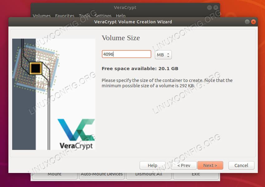 VeraCrypt set size