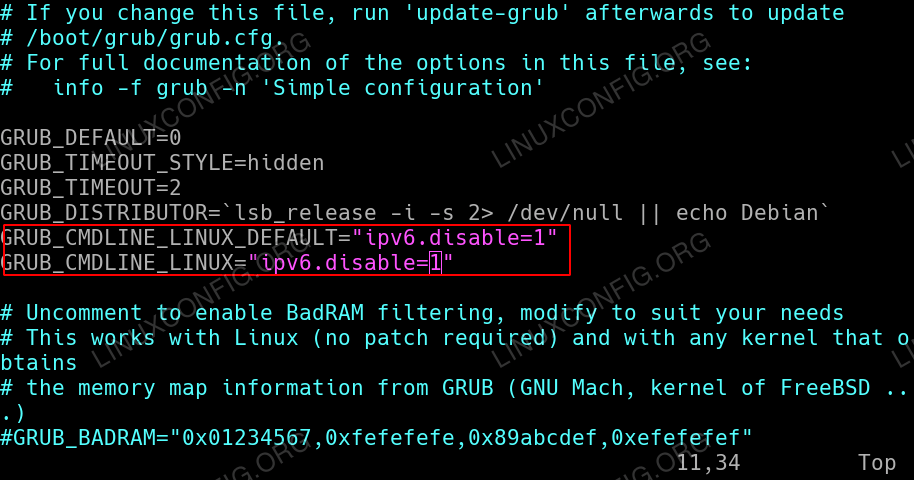 Disable IPv6 protocol after reboot on Ubuntu 18.04 using GRUB