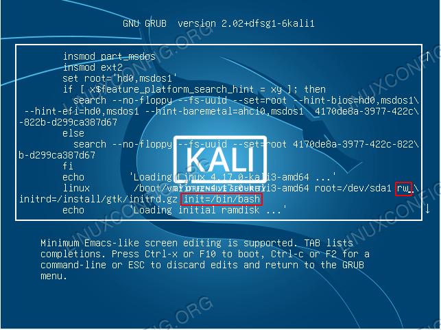 Edit GRUB menu entry