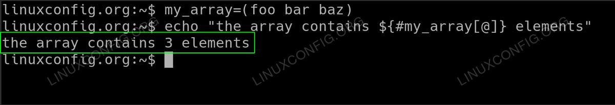 Retrieve bash array size