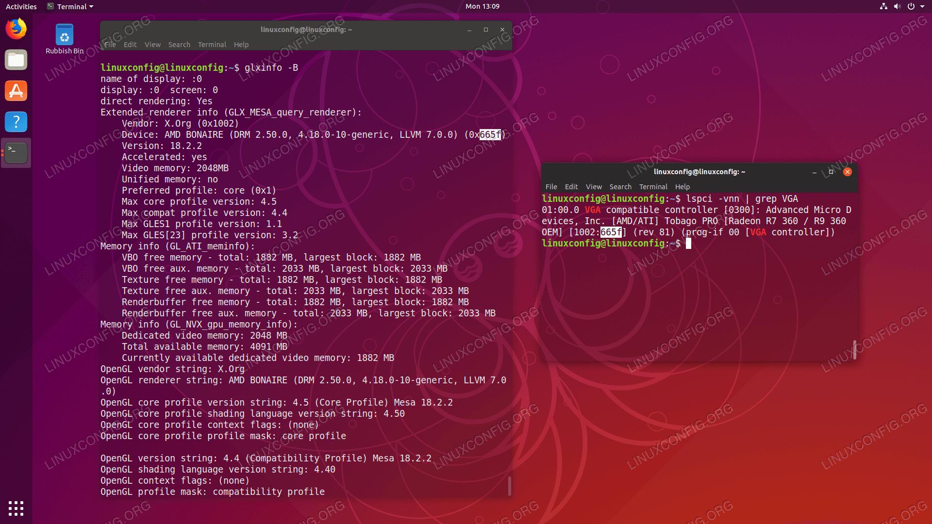 Mesa AMD Radeon graphic card driver support on Ubuntu 18.10