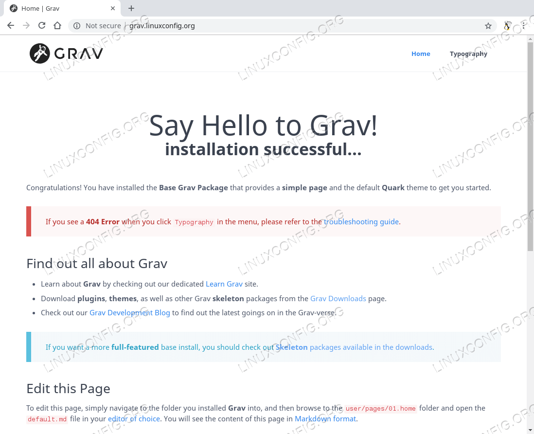 Grav CMS web site on Ubuntu 18.04 Bionic Beaver
