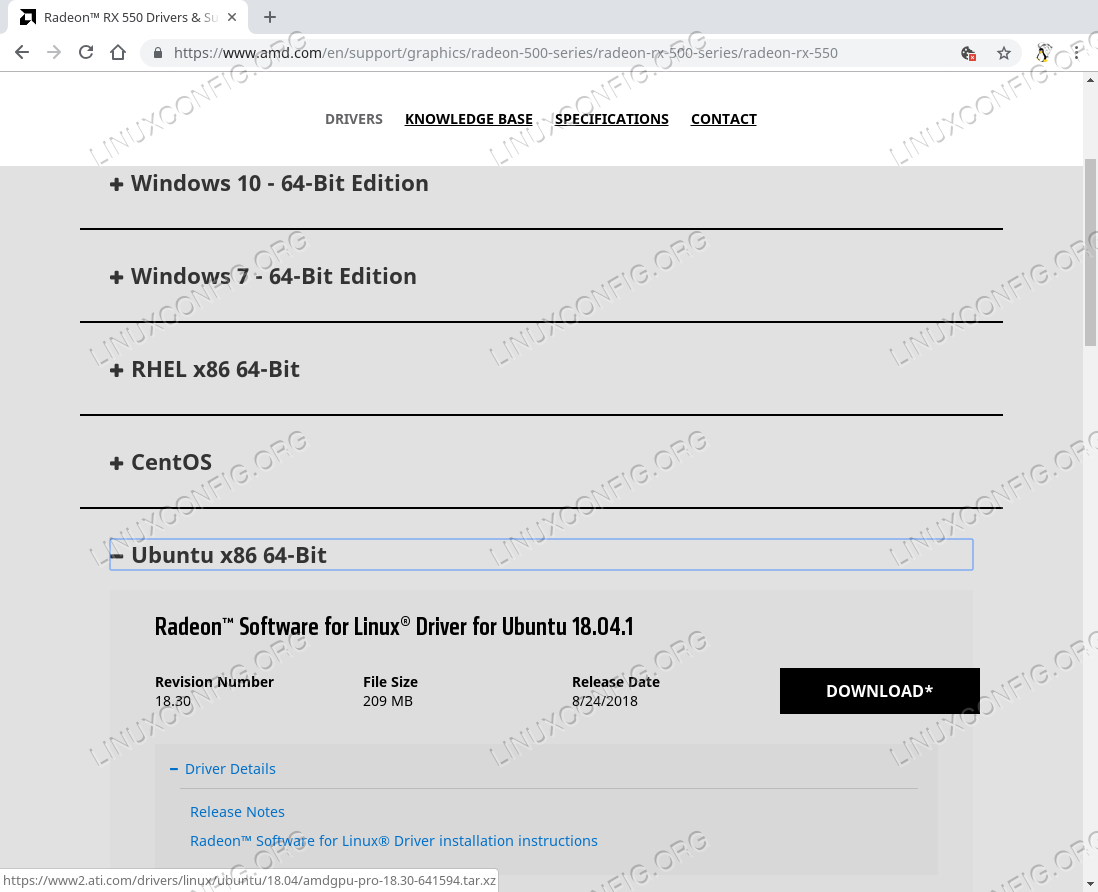 Official AMD driver download page