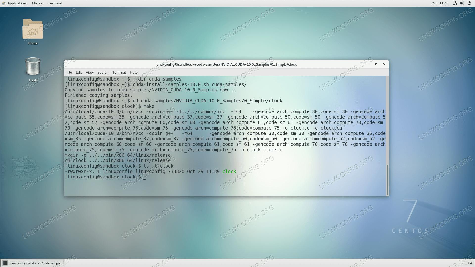 Compile CUDA sample program on CentOS 7 Linux