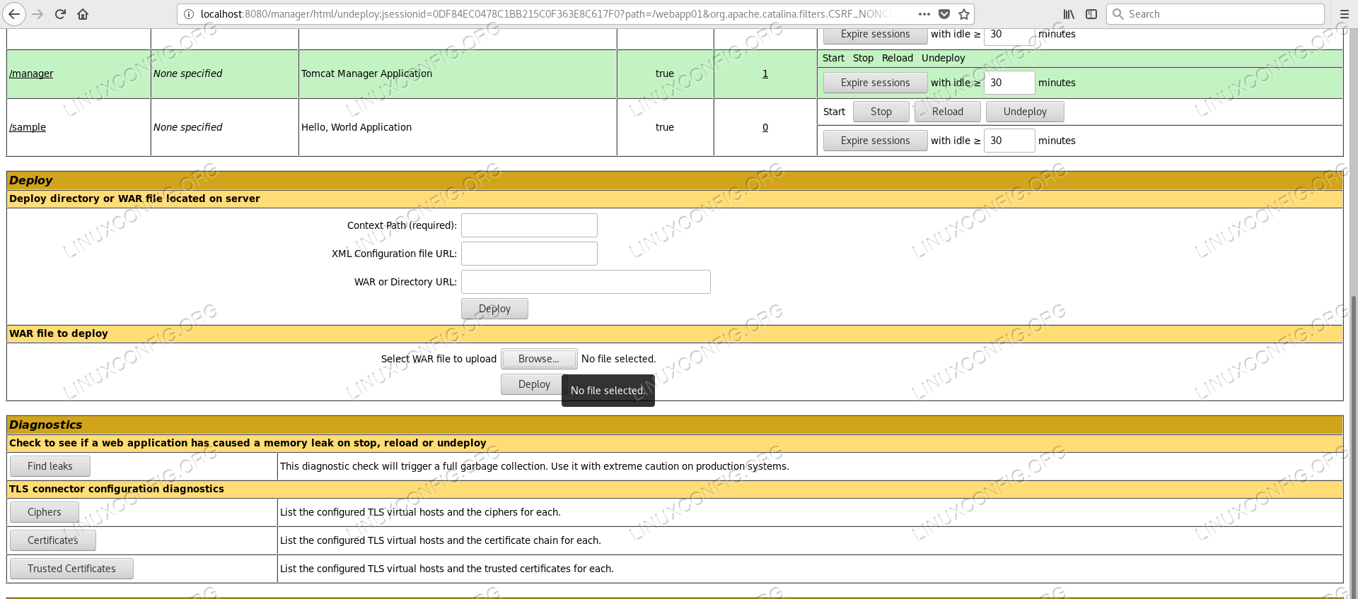 Upload form of Manager Application in Tomcat