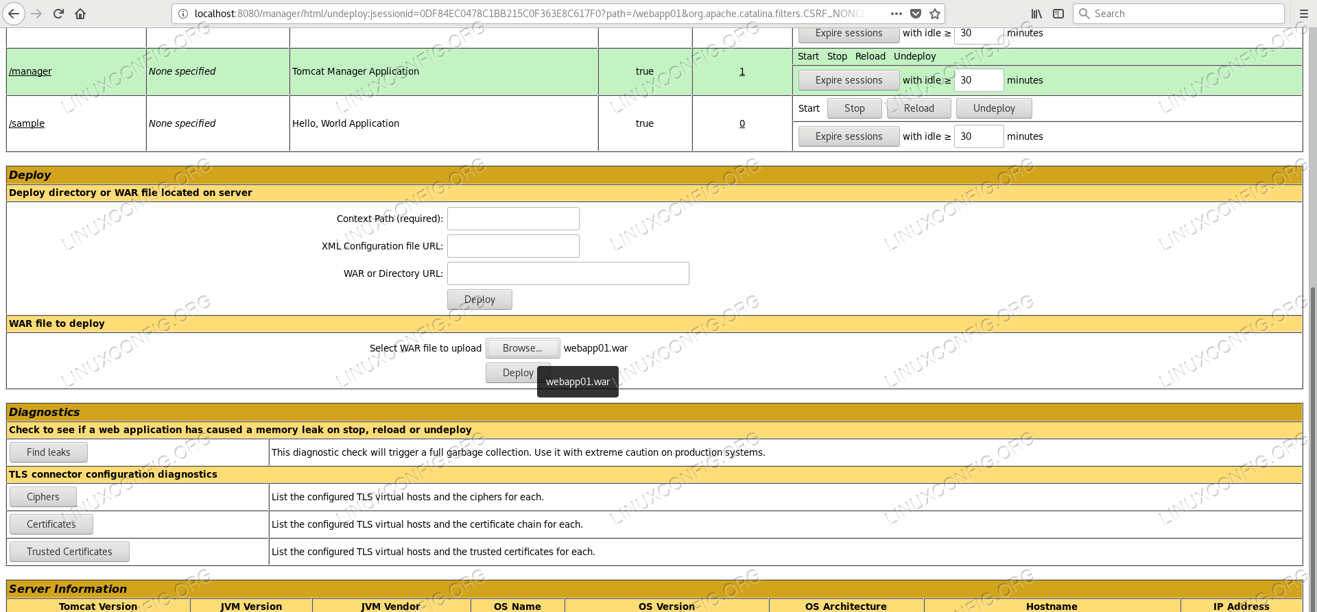 Browsing the war in Manager Application