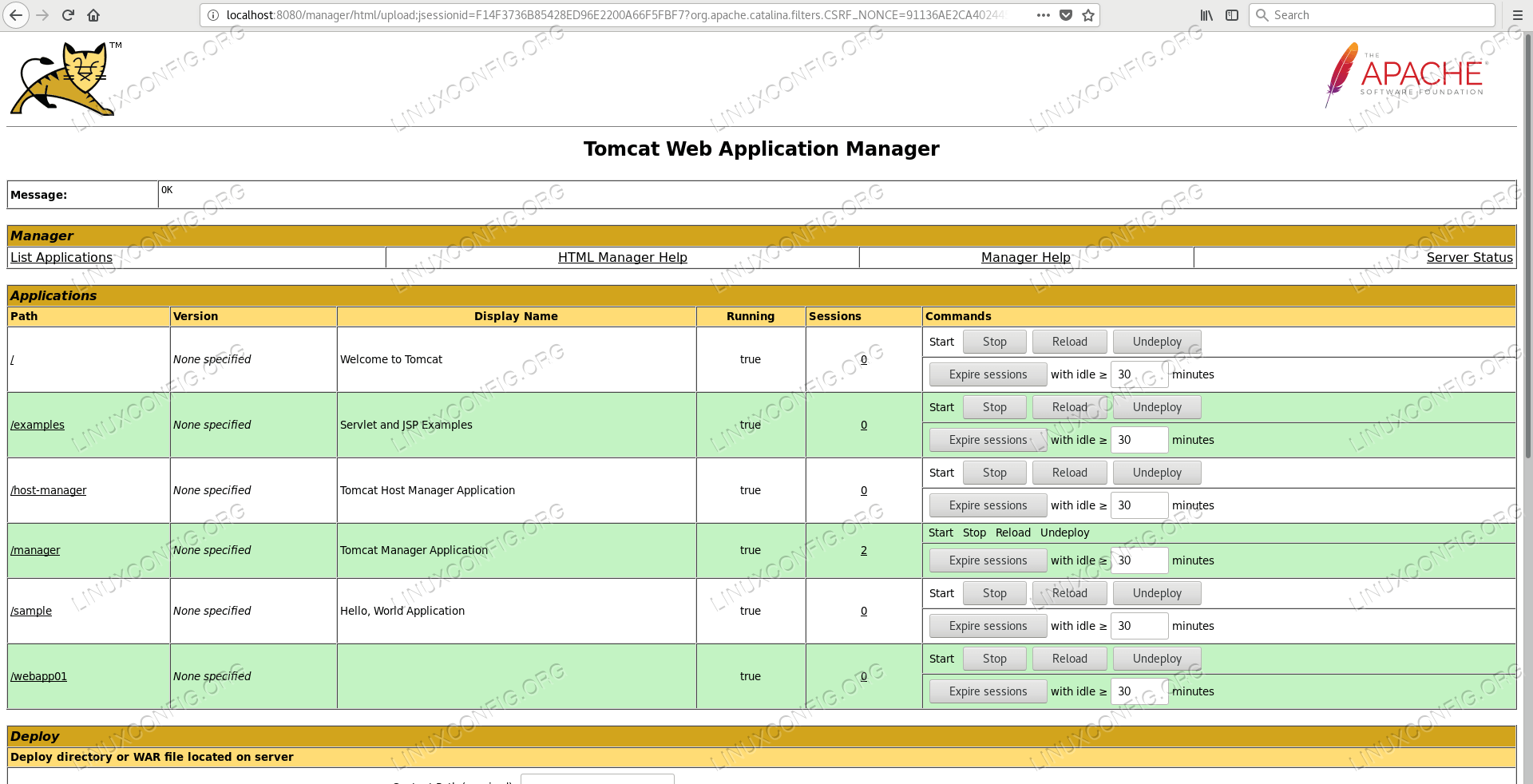 Successful deployment with the Manager Application