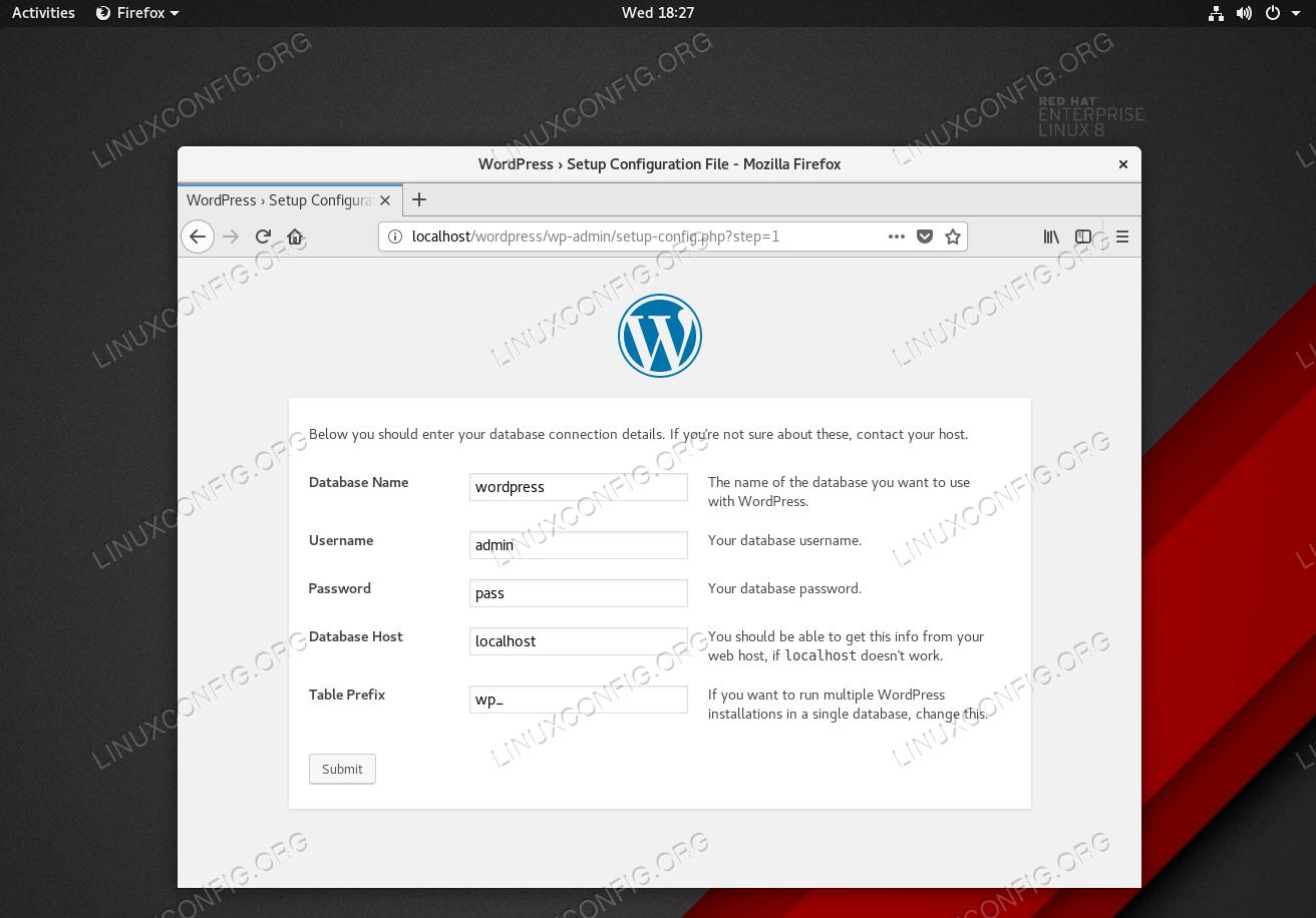 Enter previously configured database details.