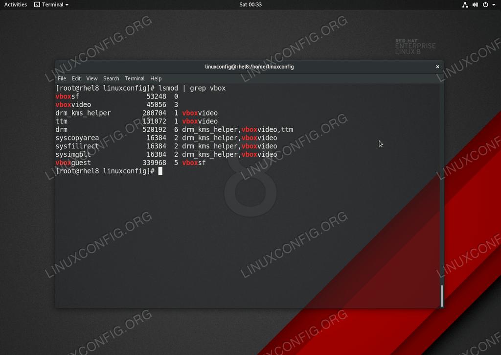 Installed Virtualbox guest additions on RHEL 8 / CentOS 8 Linux