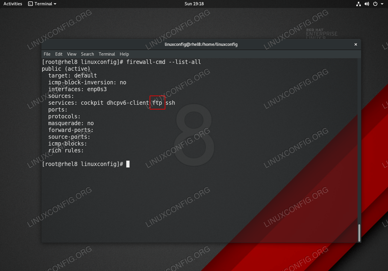 RHEL 8 / CentOS 8 - FTP protocol service. Open port 21