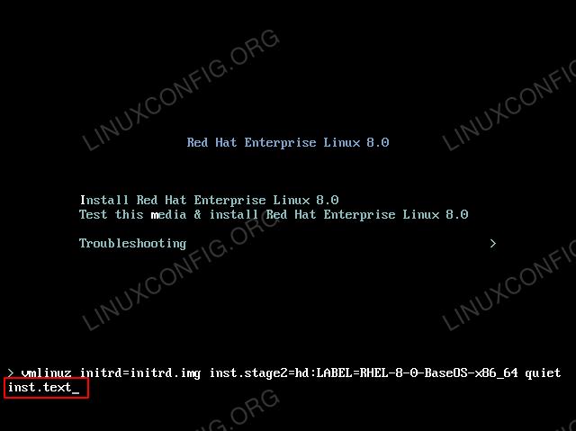 Force text mode RHEL 8 installation