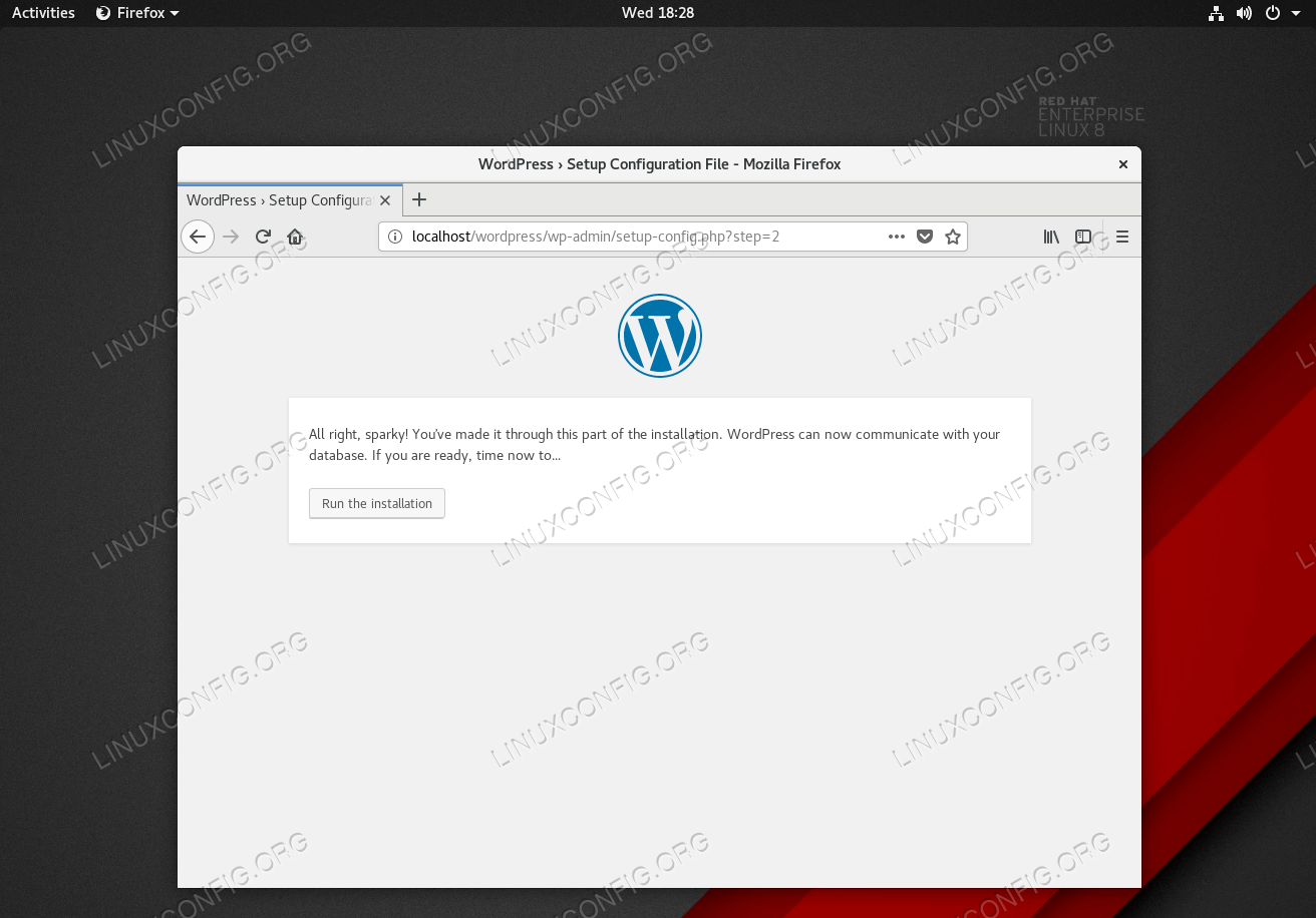 Start WordPress installation.