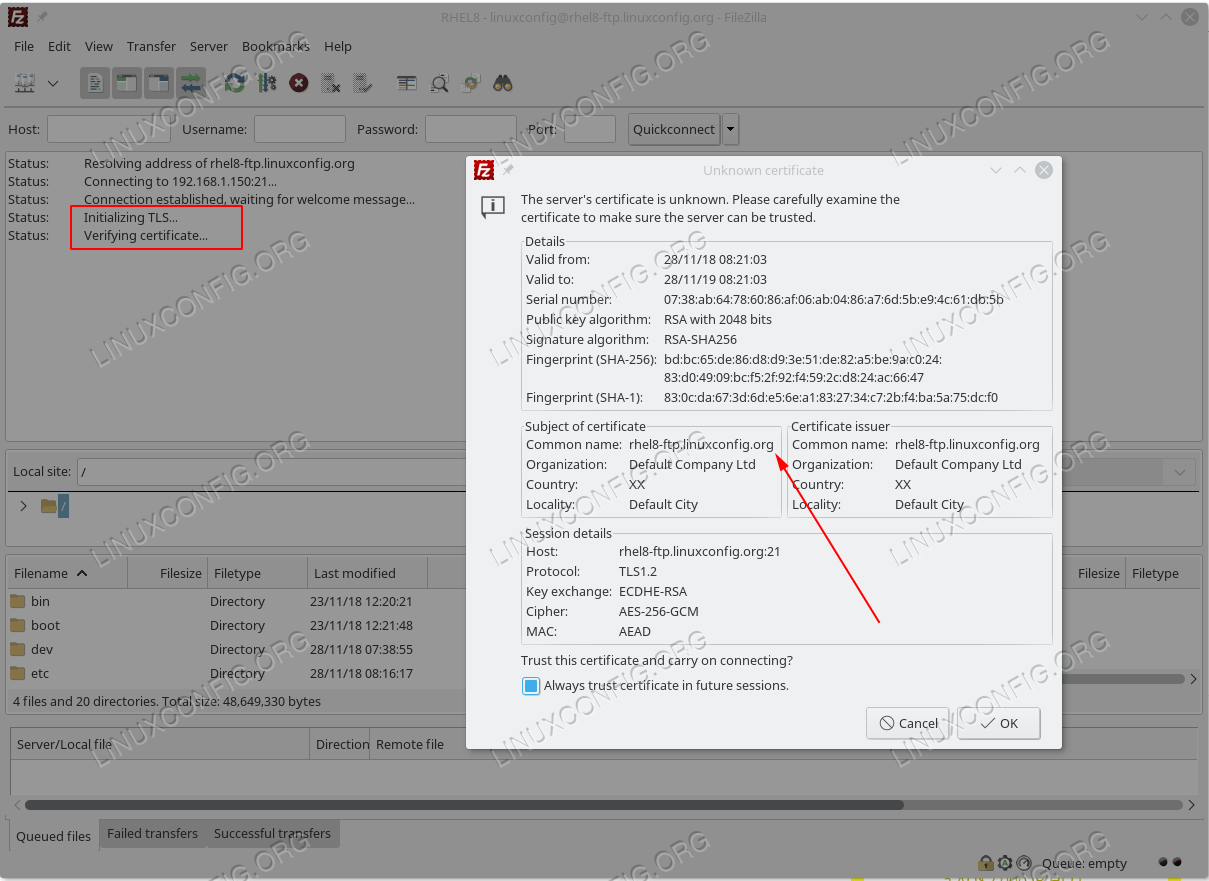 Establishing TLS connection to VSFTPD ftp RHEL 8 server