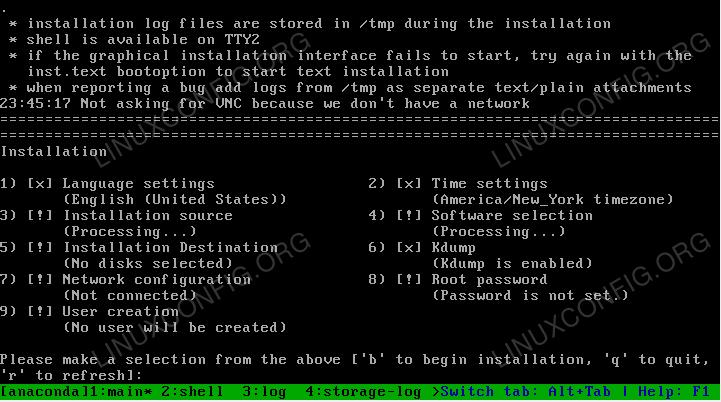 Text mode RedHat 8 installation wizard