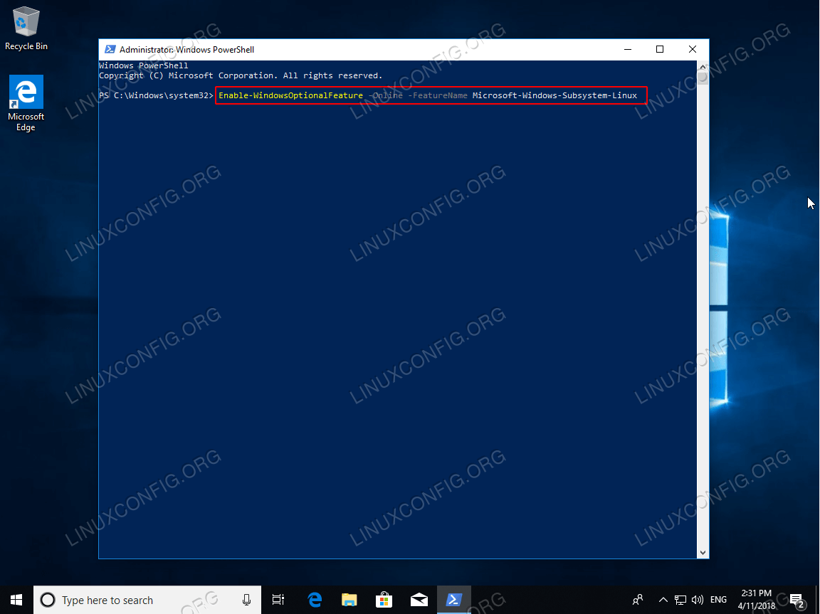 Enable Windows subsystem for Linux command