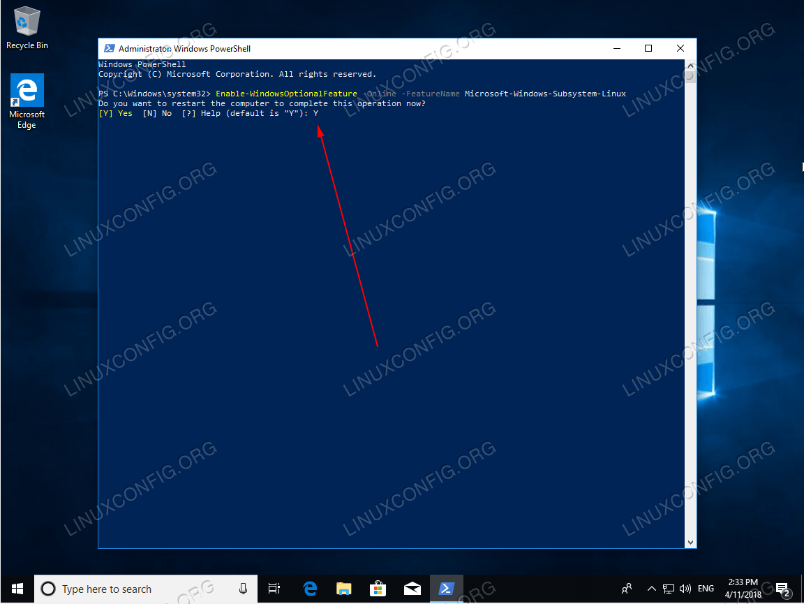 Complete the Enable Windows subsystem for Linux component operation and wait for your computer to restart