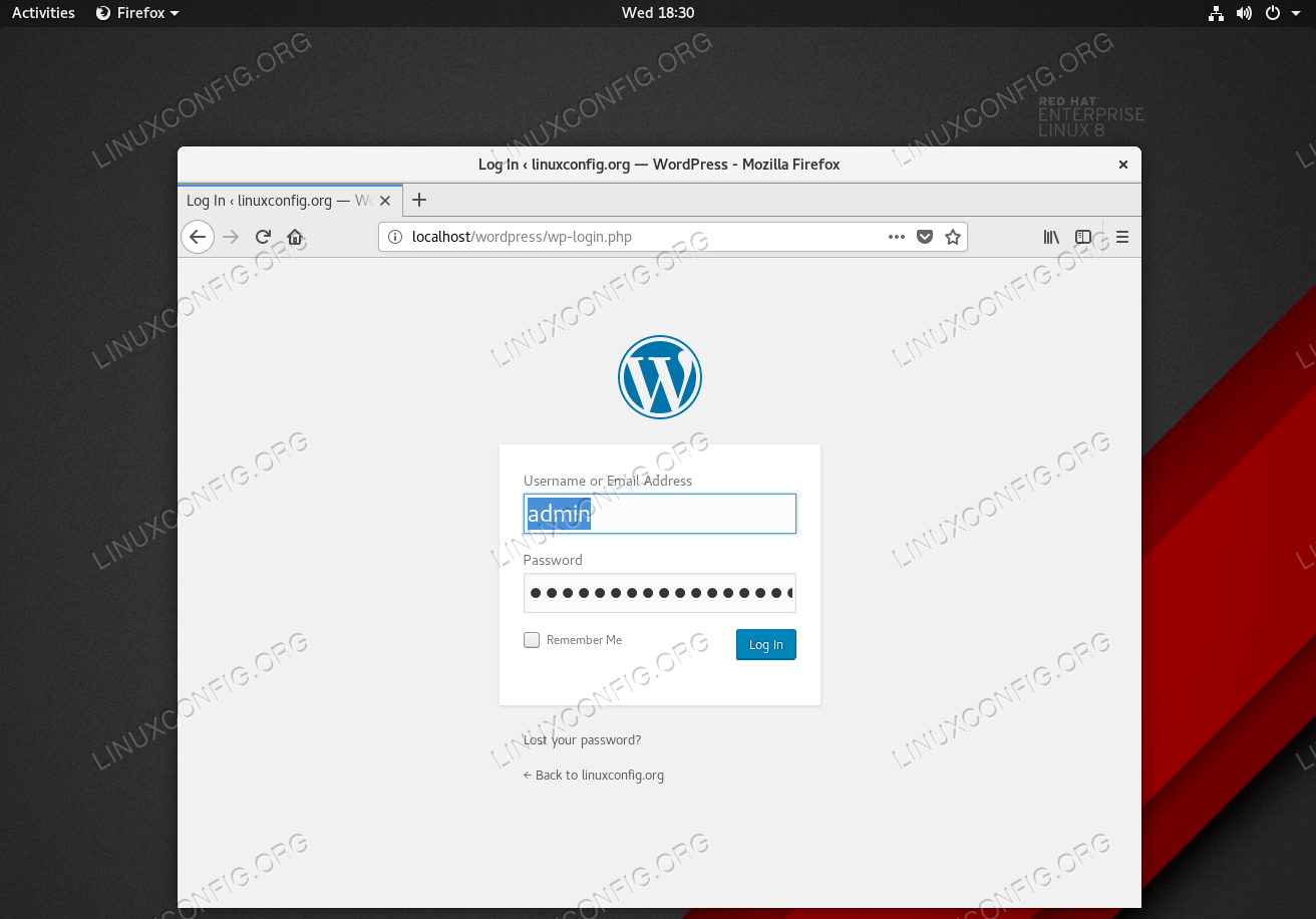 Login with your new user credentials.