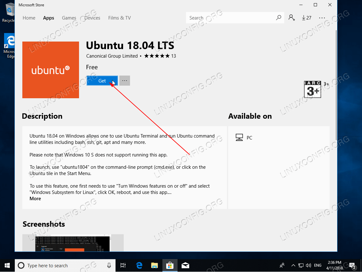 Download the Ubuntu 18.04 application from Microsoft store