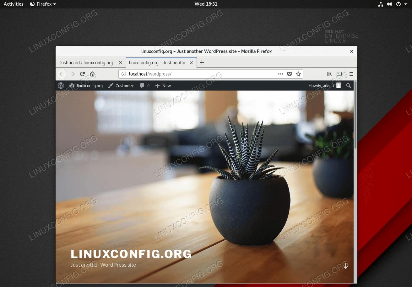 Installed WordPress on Red Hat Enterprise Linux 8 Server/Workstation.