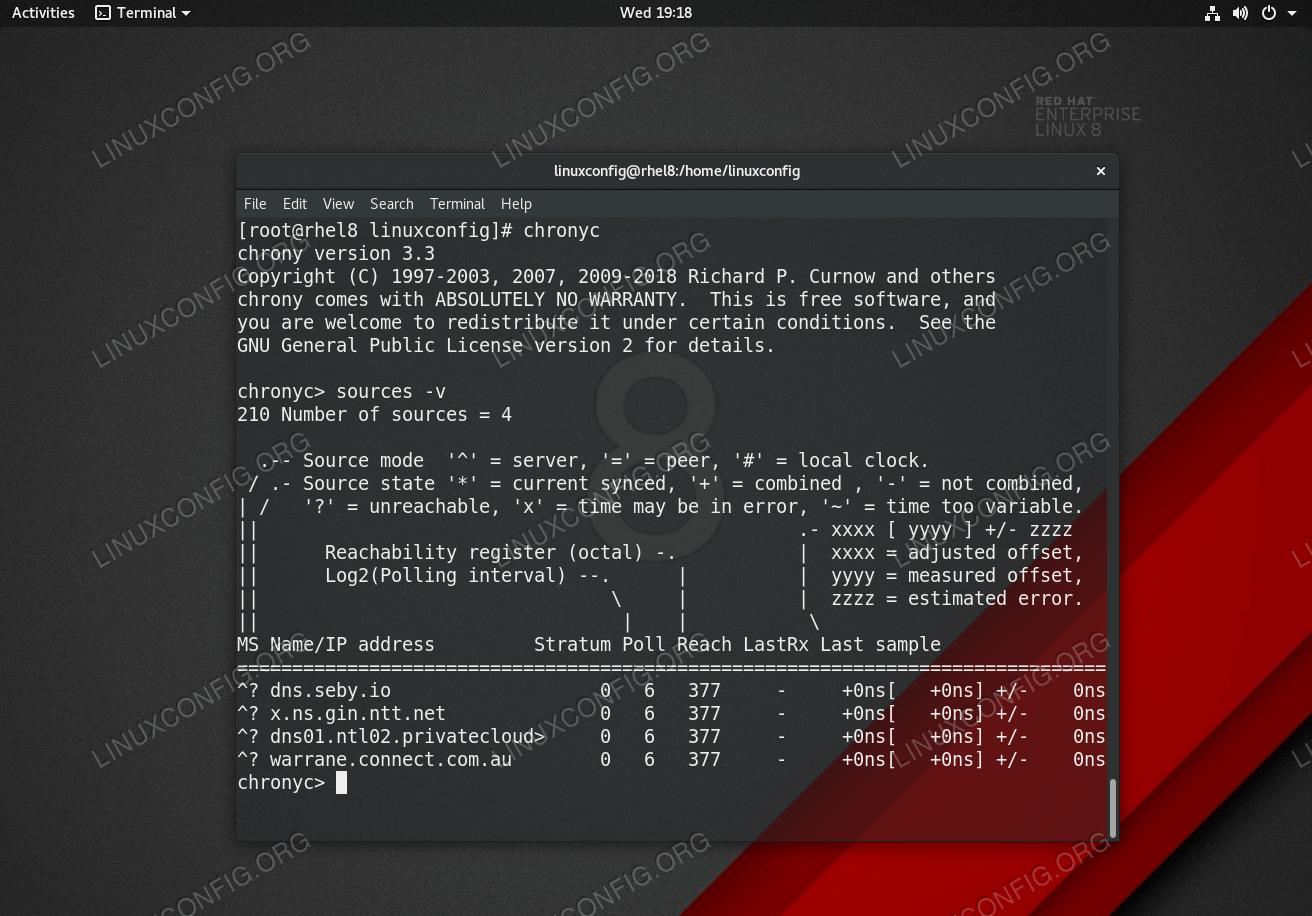 Chrony - NTP server source list on Red Hat Enterprise Linux 8.