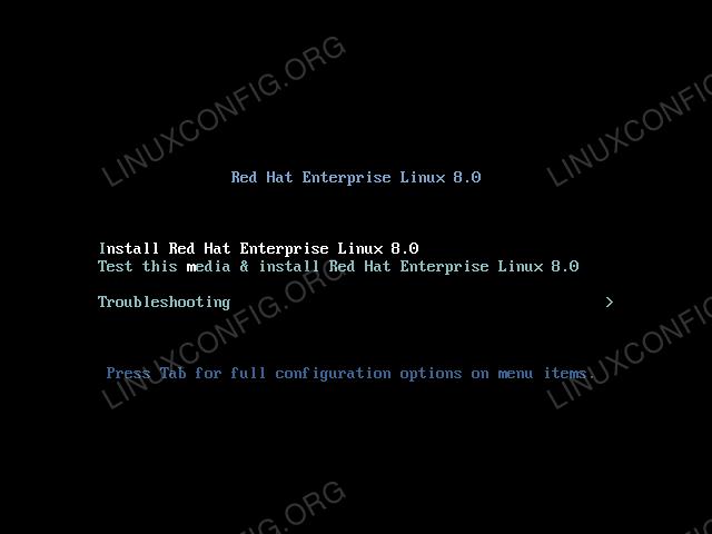 Red Hat Enterprise Linux 8 boot menu.