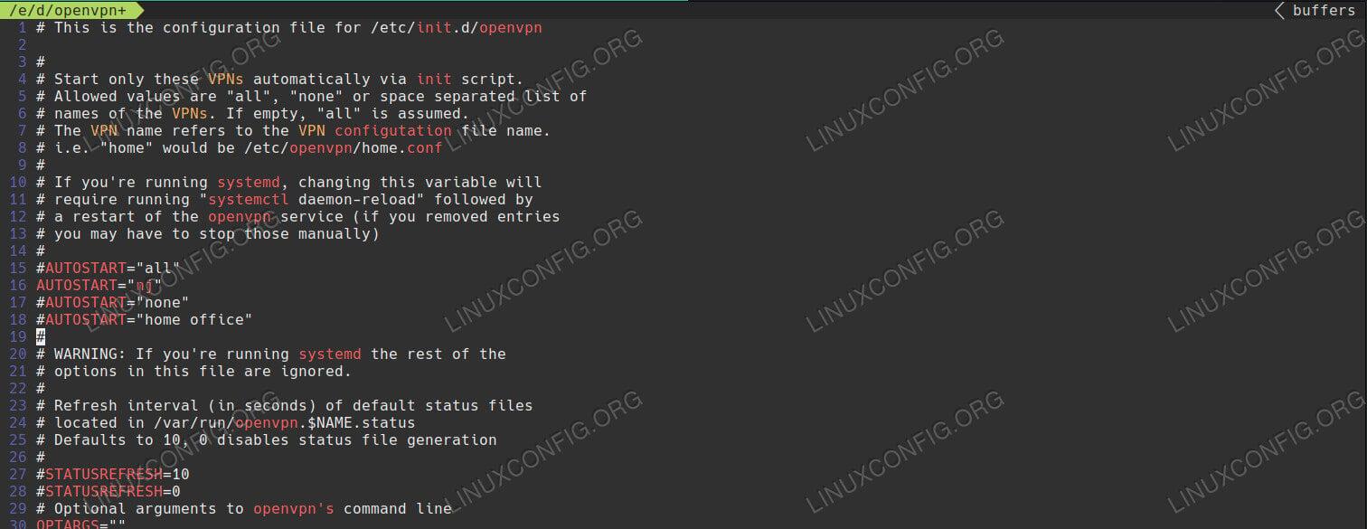 OpenVPN Client Defaults on Debian