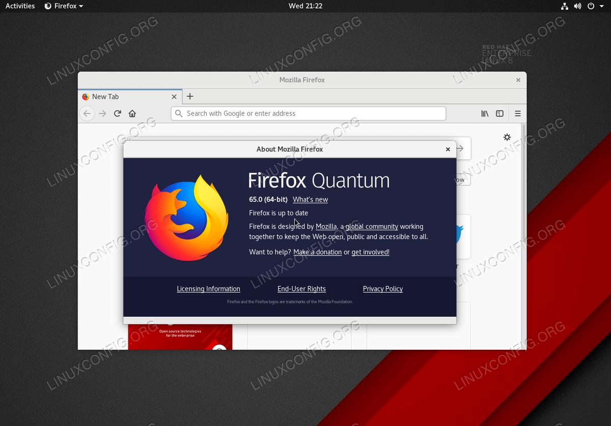 Latest Firefox Quantum Internet browser on RHEL 8 / CentOS 8 workstation
