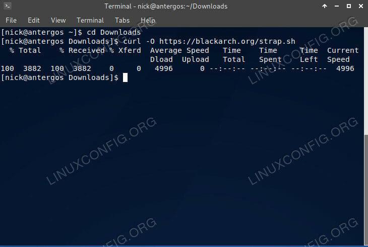 Download the BlackArch Install Script