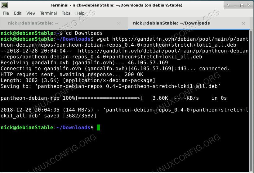 Download the Pantheon Repository on Debian
