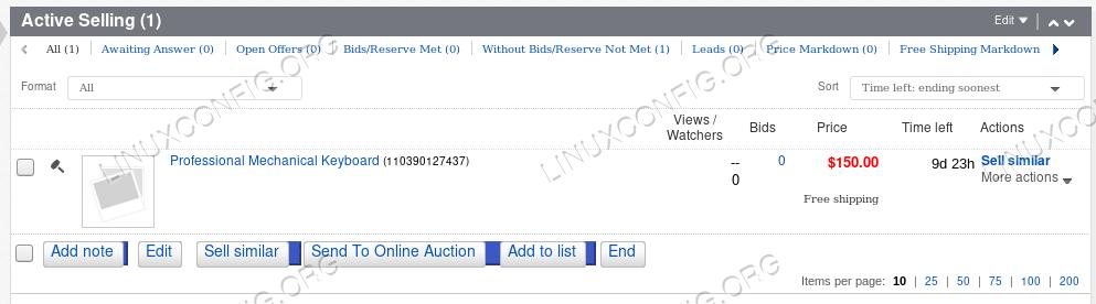 Created item using eBay and python API