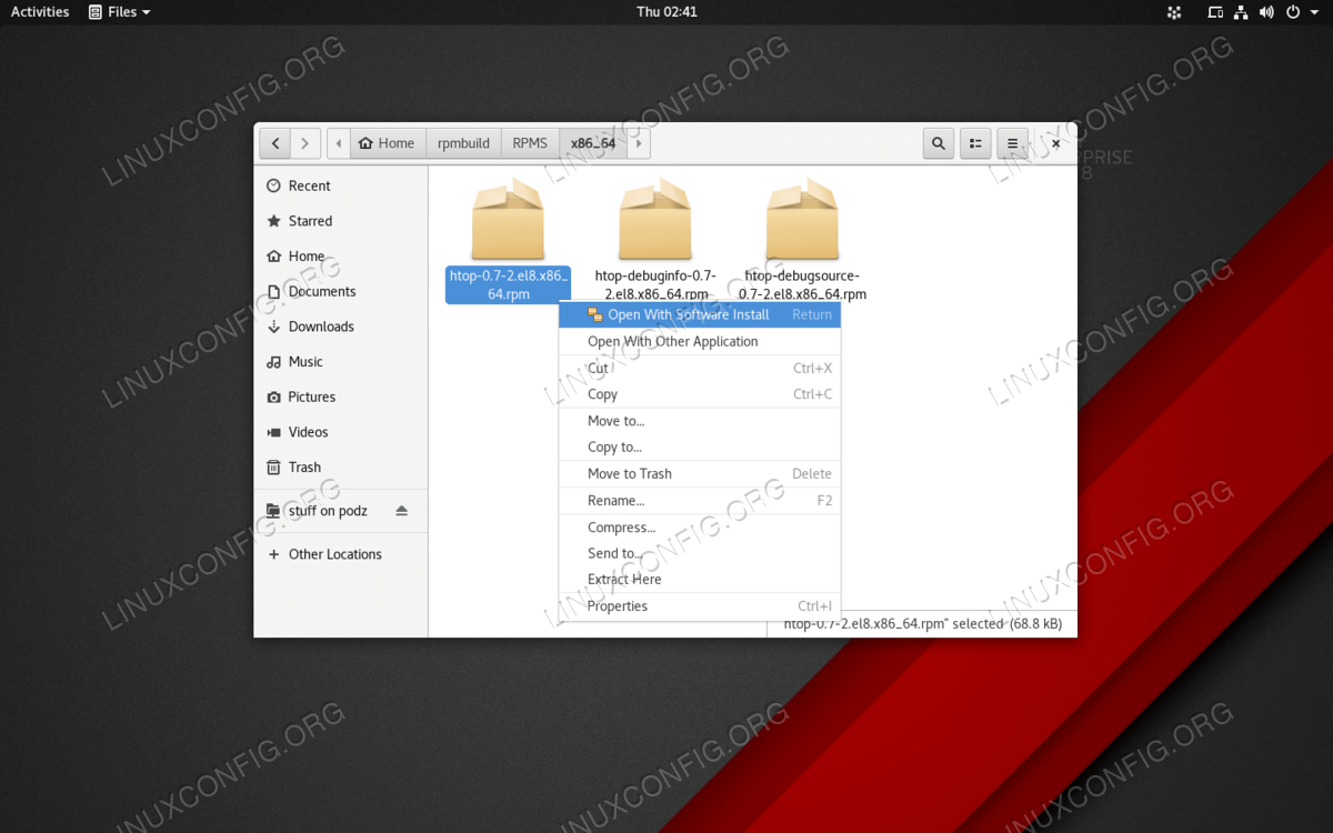RPM packages can be double-clicked on an installed using Software Center