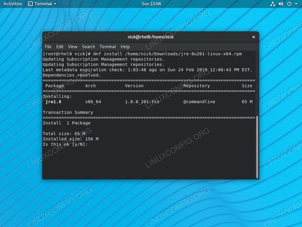Install Java 8 JRE on RHEL 8