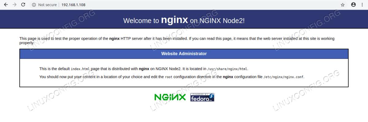 Webpage on NGINX Node2