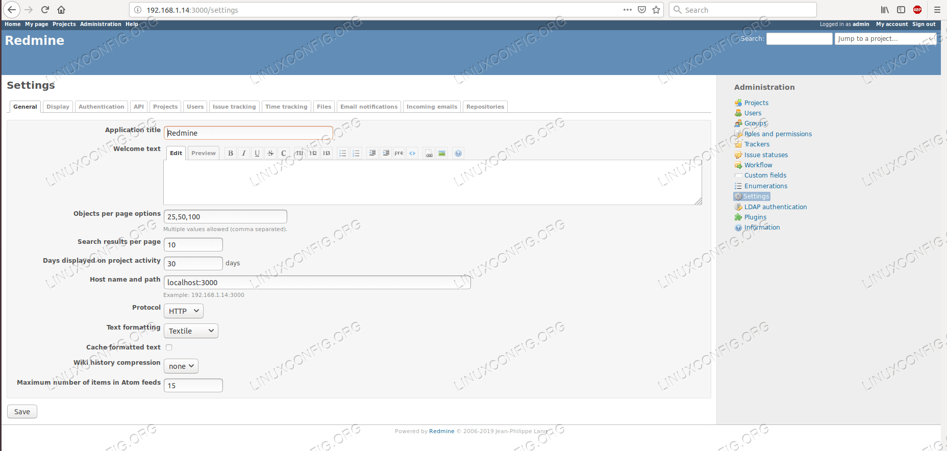 Configuration page of Redmine.