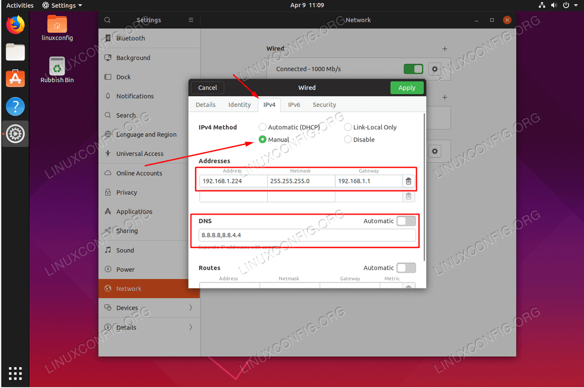 Configuring Static IP Address on Ubuntu 19.04 Disco Dingo Linux Desktop